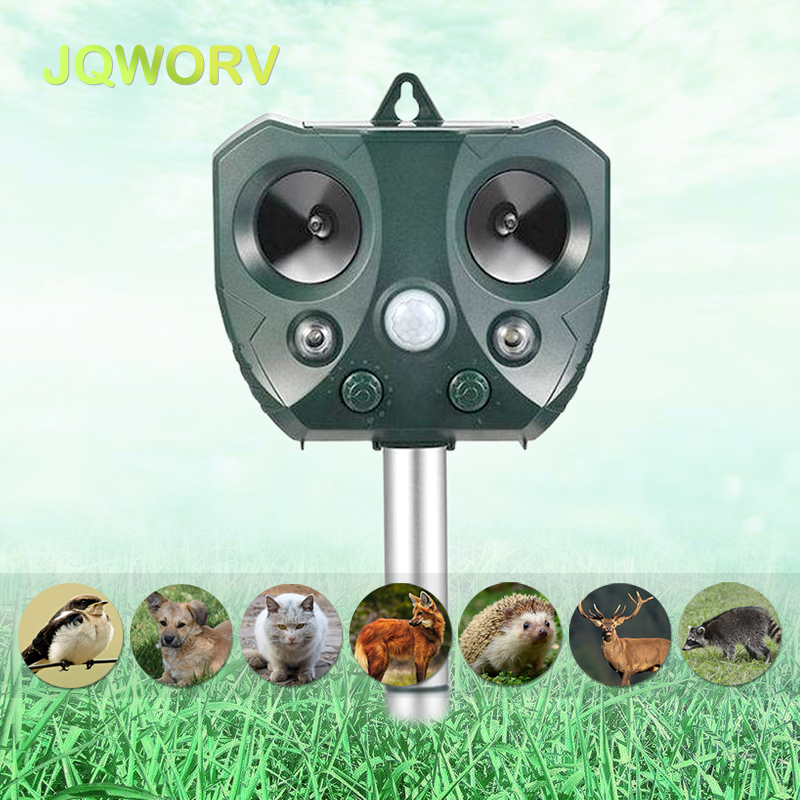 Outdoor Solar Ultrasonic Pest Repeller Rodent Control 5 Gear Frequency For Garden Drive Away Bird/Mice/Dog/Fox Animal Repeller