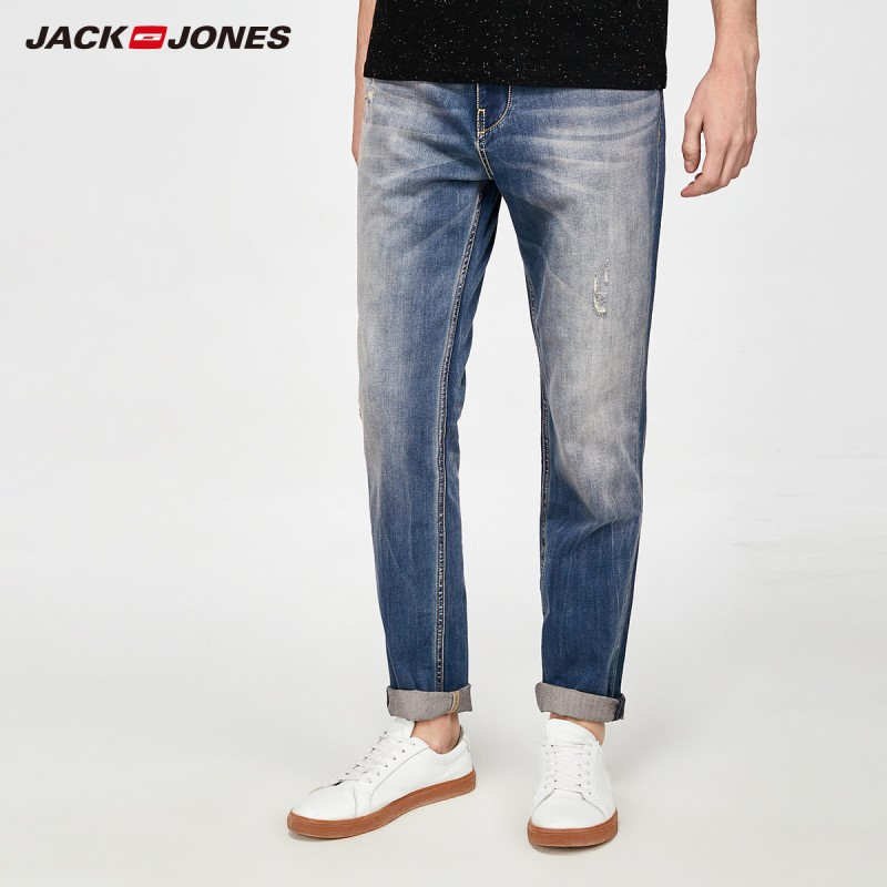 JackJones Men's Light Color Lycra fabric Stretch Ripped slim fit   Jeans   Denim pants Classic Trousers Denim Pants|218132563