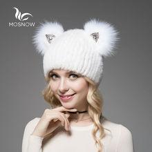 2019 חדש לגמרי כובע נשי חורף אמיתי מינק פרווה עם חמוד חתול אוזן סרוג פסים מוצק מזדמן נשים כובע כובעי מצנפת femme