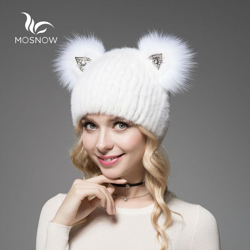 MOSNOW 2018 ब्रांड नई टोपी महिला सर्दियों असली मिंक फर के साथ प्यारा बिल्ली कान बुना हुआ धारीदार ठोस आकस्मिक महिला टोपी टोपी बोनट नीम