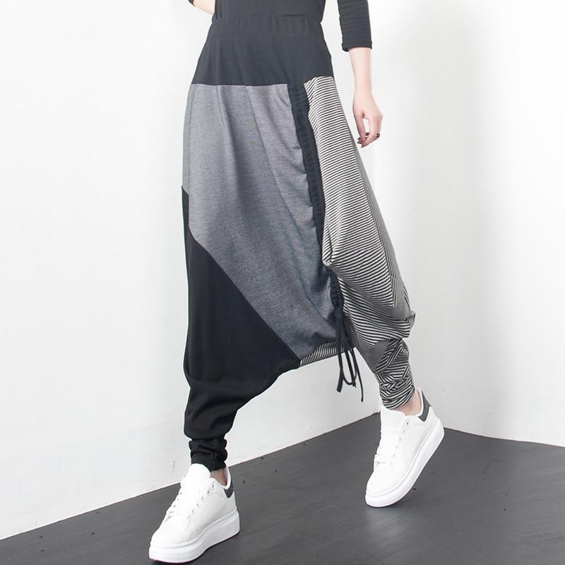 De Superaen Mujer Salvaje Nueva Largos Harem Rayas Pantalones Casual Mujeres Primavera Grey Moda Europa Algodón 2019 rC6twqCx1