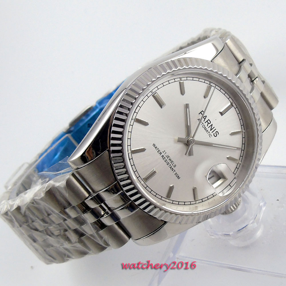 New 36mm parnis White Dial Luminous Marks Complete Calendar Sapphire Crystal 21 jewels MIYOTA Automatic Mechanical women's Watch romantic sweet gifts 43mm parnis white dial luminous marks sapphire crystal 21 jewels miyota automatic mechanical men s watch