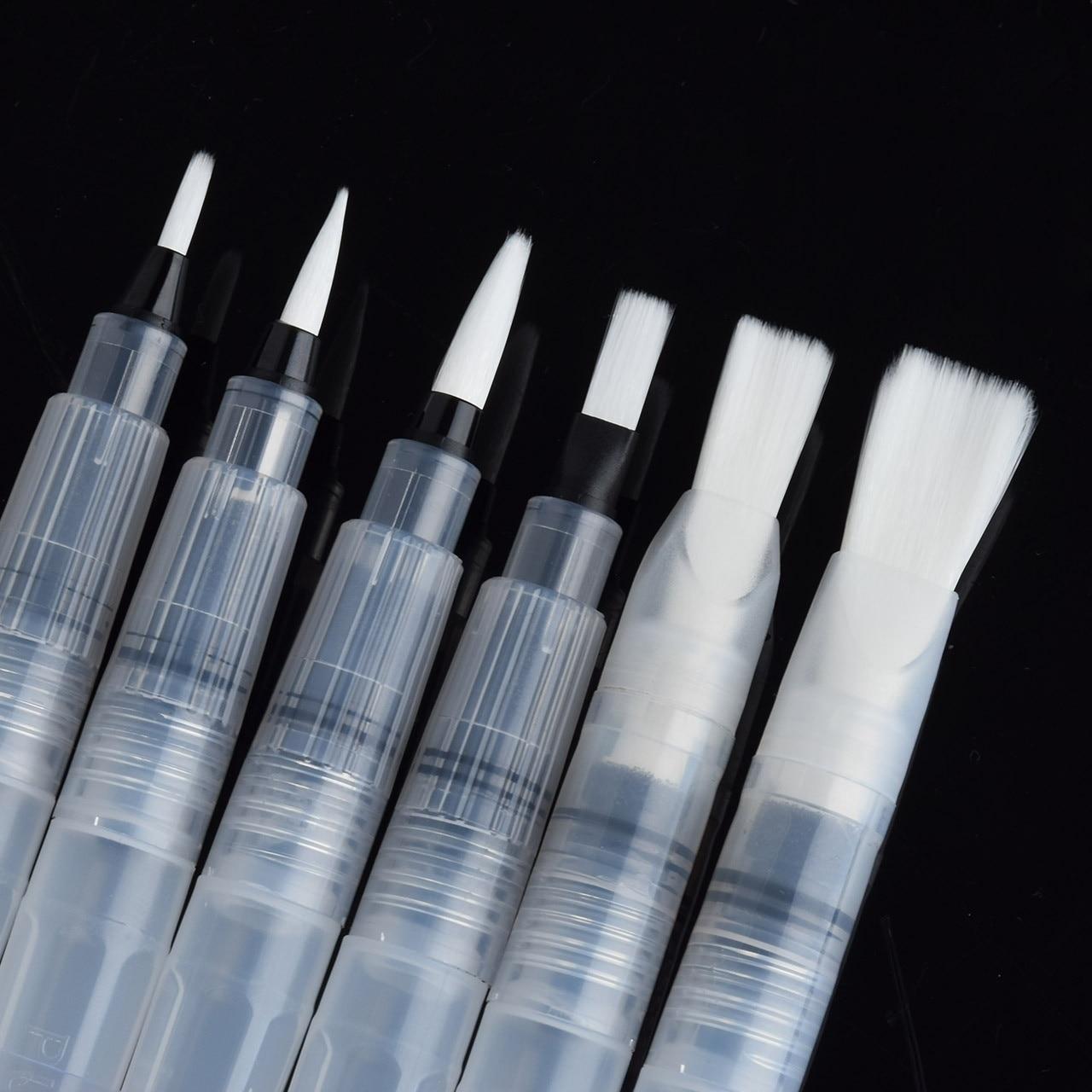 6Pcs/Set Plastic Water Storage Soft Brush Drawing Paint Watercolor Calligraphy Pen Flat/Round