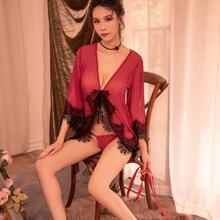 Daeyard Women Robe Silk Satin See-Through Nightwear Female Sexy Lingerie Lace Trimmed Mesh With G-string Short Bathrobe