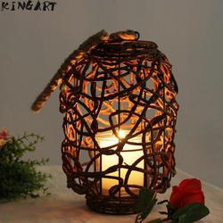 Rustykalny świecznik rattanowy lampa wisząca drewno ozdobny świecznik Home Wedding Bar Tea Light świecznik w Świeczniki od Dom i ogród na