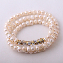 New Design Fashion Crystal Armband Made By Pearl Bracelet bangle(China)