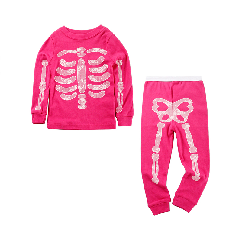 Mudkingdom Baby Boys Girls Skeleton Pajamas Sets Kids Luminous Clothing Suits Cotton Outfits Children Halloween Costumes year cotton long sleeves baby kids children suits boys pajamas christmas girls clothing sets clothes