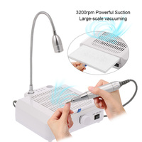 3 in 1 Multifunctional Salon Nail Art Equipment Tool Nail Art Drill Suction Dust Collector Machine with Desk Lamp