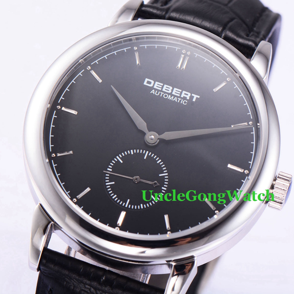 Debert 40mm sapphire glass black dial Silver Hands Polished Case Mens Automatic Watches 42mm debert black luminous dial armbanduhr black leather auto movement mens automatic watches lume hands wristwatch