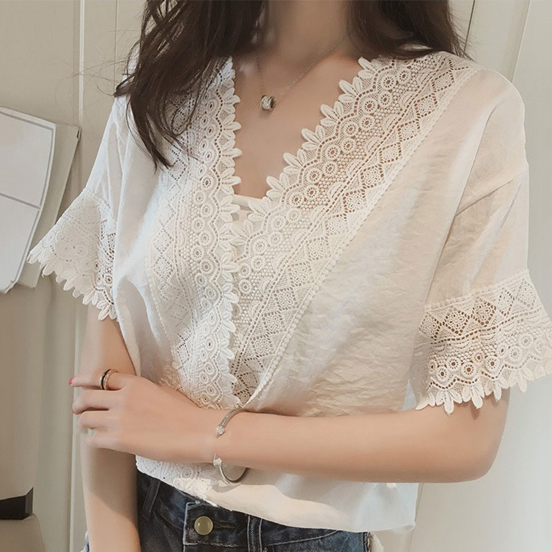 V Neck Blouse Summer Sexy Women Blouses Lace Hollow Out Shirts Casual OL Tops Blouse