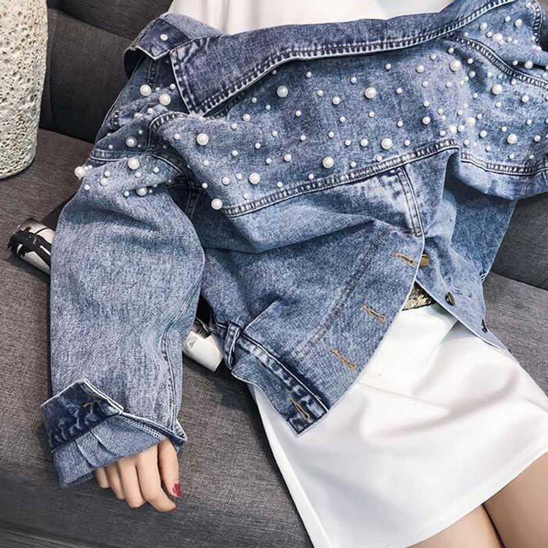 Винтажная Мода Бисер Короткие корейские джинсовые куртки женские 2019 осенне-зимняя уличная мода рукав летучая мышь Сплит джинсовая куртка женская