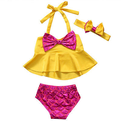 Baby Girl Swimwear clothing set Cute Kids Baby Girls Tankini Bikini Shorts Headband Set Bowknot Swimsuit Bathing Suit Beachwear