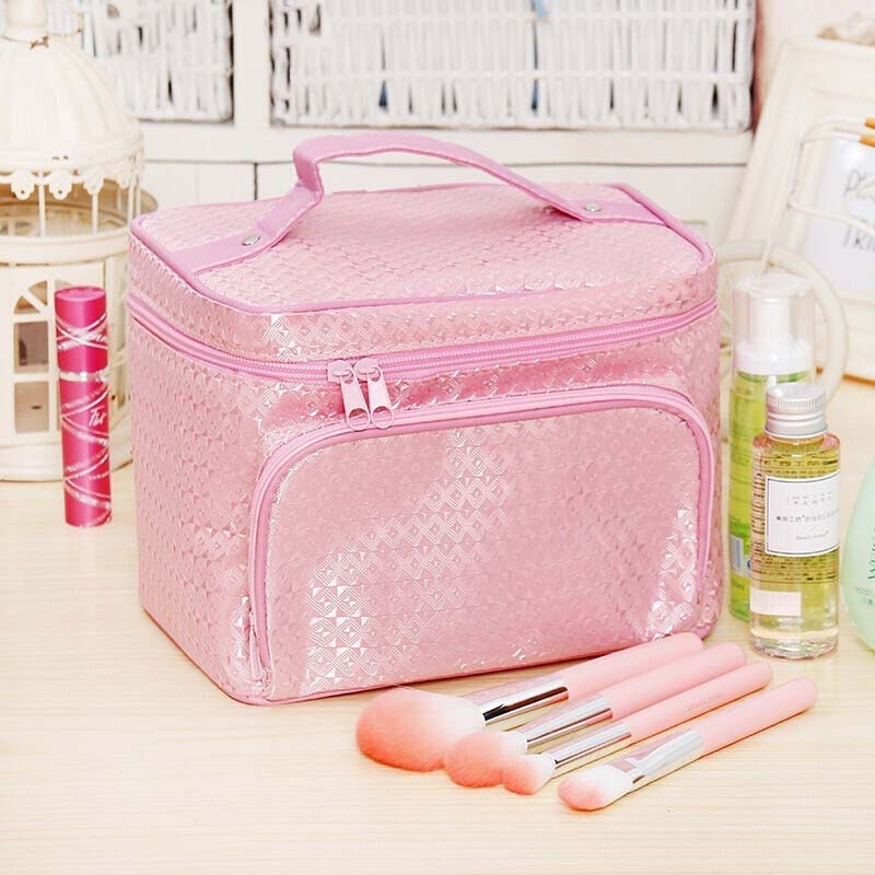 2019 New Women Girl Ladies Large Capacity Polyester Make Up Bag Vanity Case Cosmetic Nail Tech Storage Zipper Solid Beauty Box