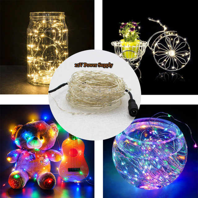 5M 50Leds 10M 100Leds LED Fairy Light String Copper Wire Fairy Lights 12V Powered Xmas Wedding Party Fairy Holiday Party Decor