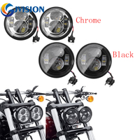 Black/Chrome Harley Motorcycle Dyna Fat Bob 4.65'' Dual led headlights High Beam and Low Beam Double Dual Lamp