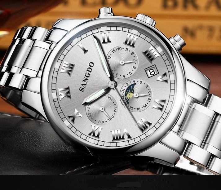 42mm Sangdo Business watch Automatic Self-Wind movement Sapphire Crystal Mechanical multifunction Men's watch 052S deluxe ailuo men auto self wind mechanical analog pointer 5atm waterproof rhinestone business watch sapphire crystal wristwatch