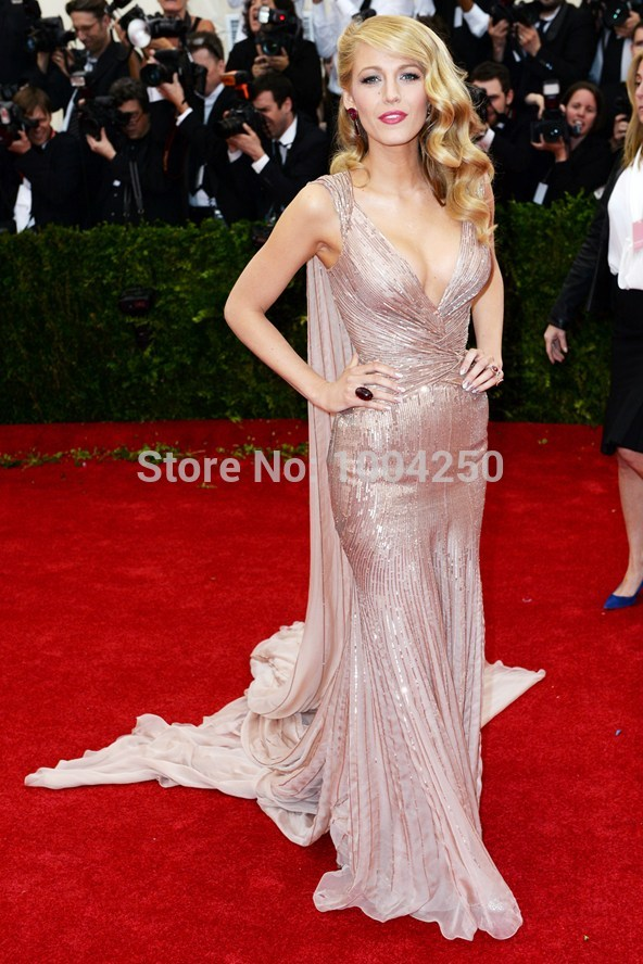 Red Carpet Y Celebrity Dress Blake Lively Gala Cannes V Neck Long Tail Chiffon Mermaid Evening Gown Prom 2017 Free Shipping In Inspired Dresses