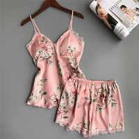 Nouveau sommeil salon Pyjama ensemble Sexy Satin vêtements de nuit en soie femmes été Pyjama Femme mode fleur Babydoll pyjamas pour les femmes