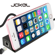 JCKEL Hub OTG Type-C 3.1 to RJ45 Gigabit Ethernet Lan Splitter Adapter+3 USB 3.0 Ports Type C Hub with Phone Holder For Macbook цена и фото