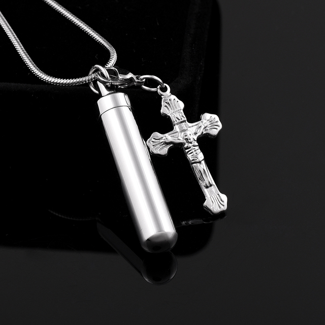 Cylinder with Cross Urn Necklace