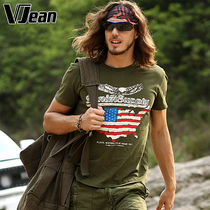 V JEAN font b Men s b font Printed Military Cotton T font b Shirt b