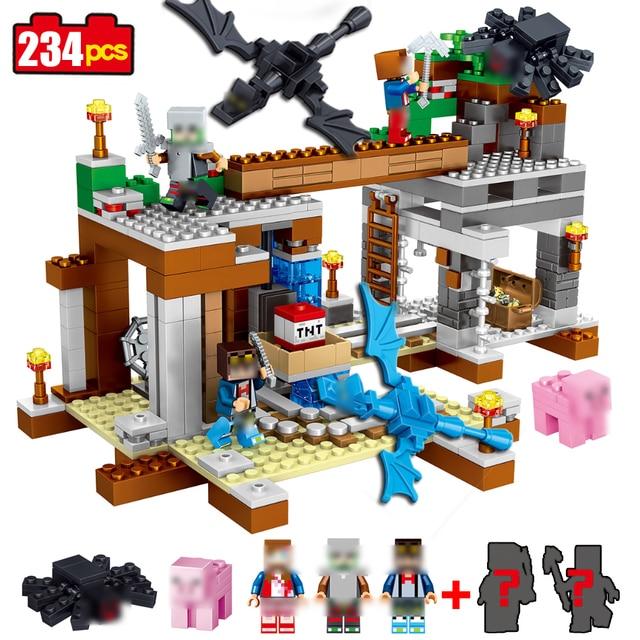 493pcs Compatible Legoe Figures Minecraft Building Block Bricks Style kits Educational toys hobbies for children 14