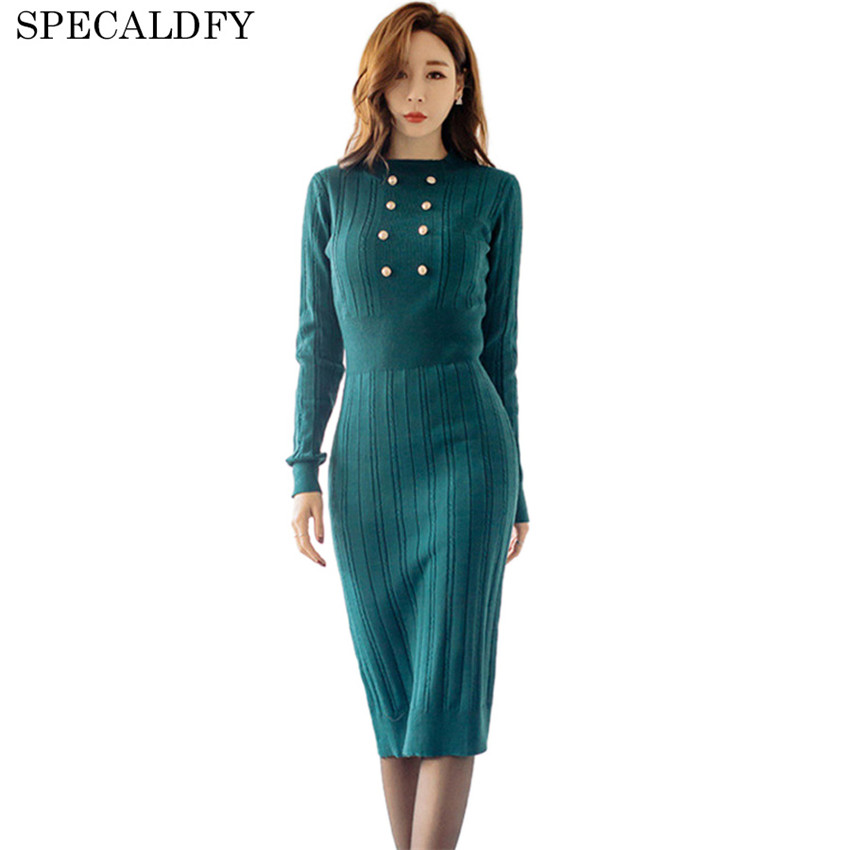 2018 Spring Autumn Bodycon Dresses For Women Knitted Dress Sexy Slim Knee-Length Party Night Dresses Bodycon Robe Femme Vestidos