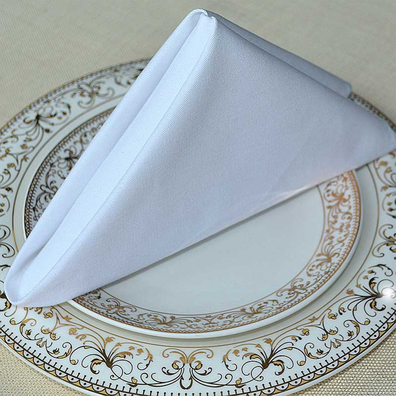 wedding napkins cloth 100 pure cotton white Cloth Napkins Gold for Banquet Wedding Party Dinner decoration