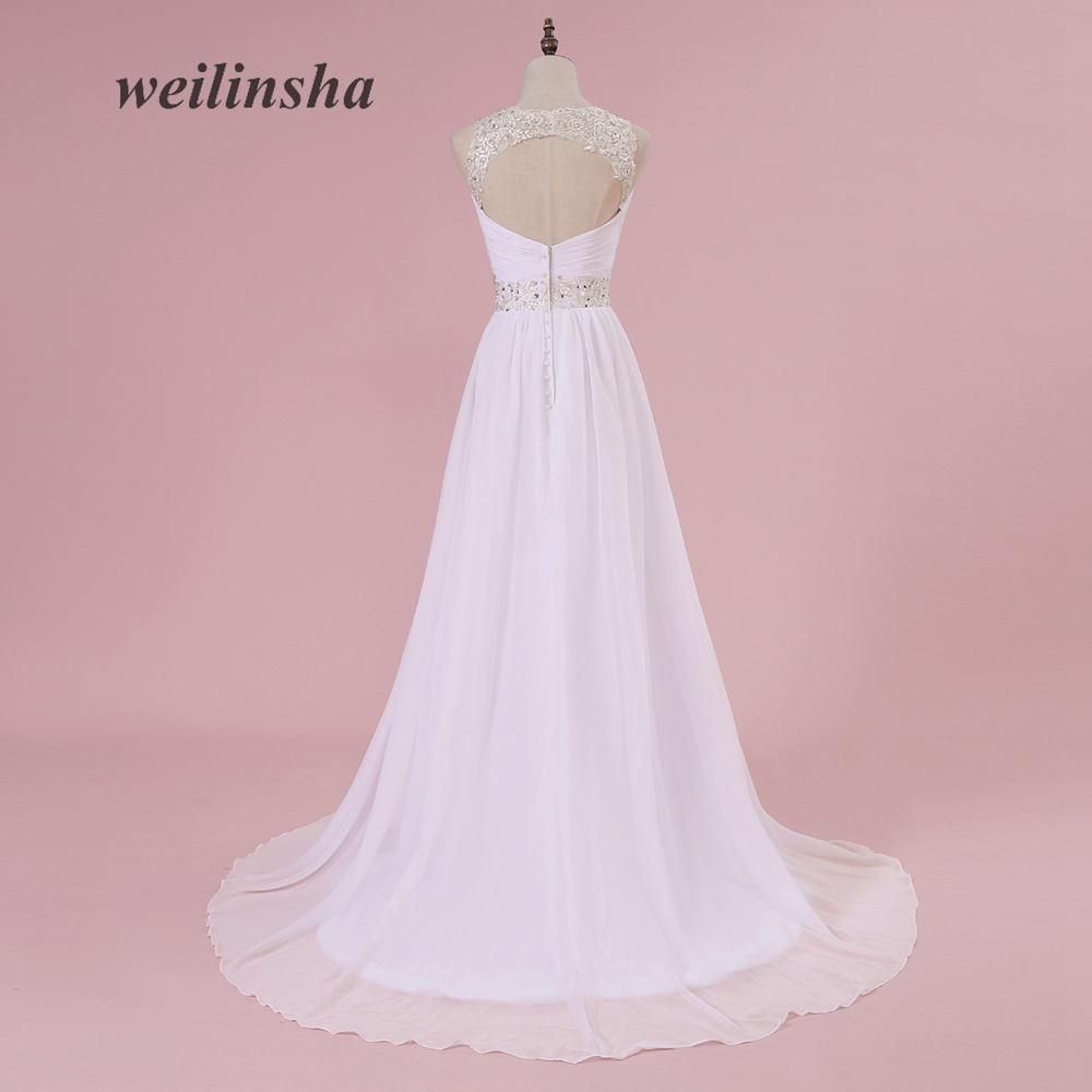 weilinsha Plus Size A line Cheap Wedding Dresses In Stock Chiffon ...