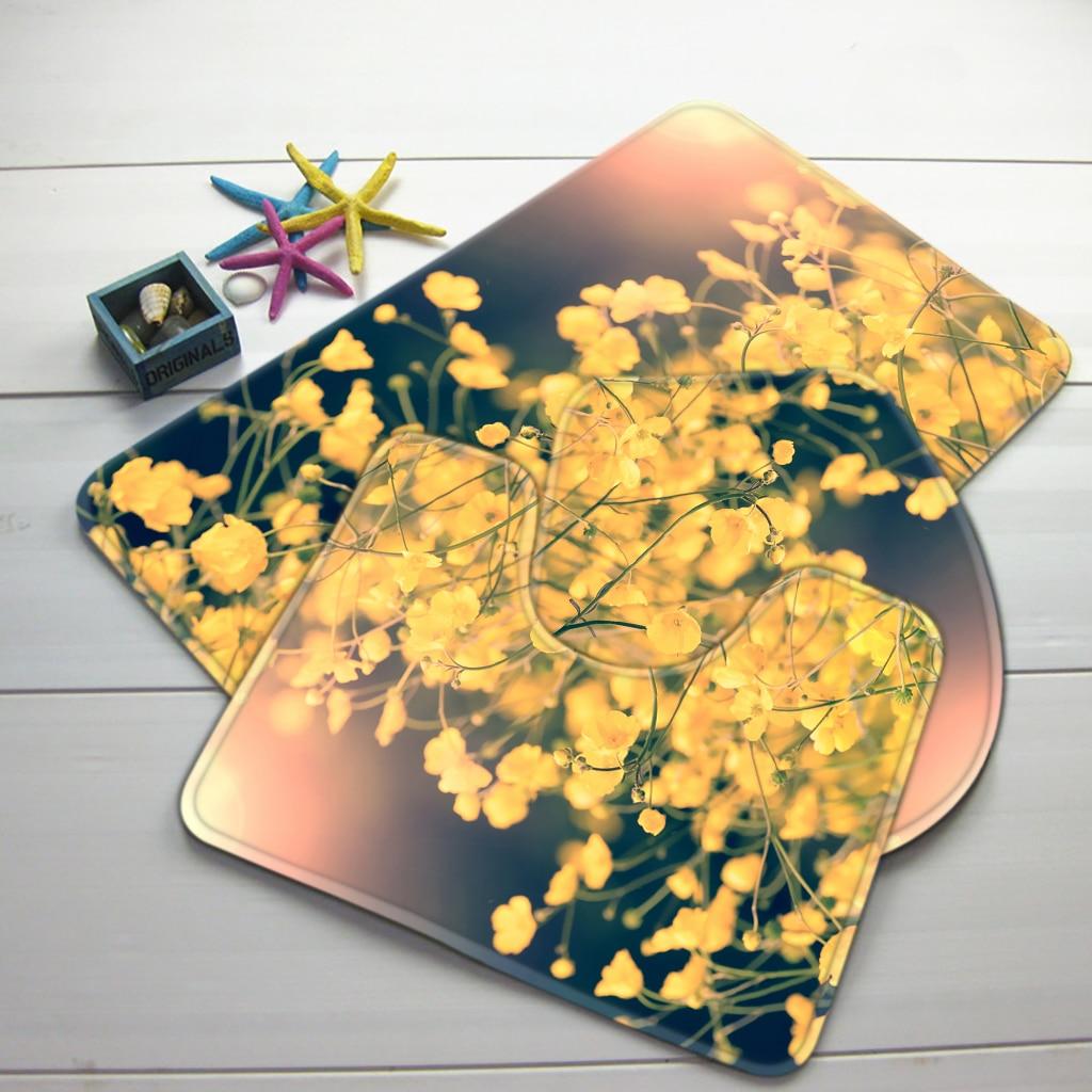 3pcs Bathroom Mat Set Yellow Flowers Pattern Bath Rug Anti Slip Foam