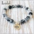 Lubean Grade Genuine Rutilated Quartz Bracelet High Quality Men`s Bracelet Depression Anxiety Relief Wrist Mala Beads Jewelry