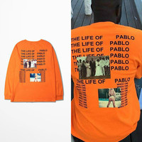 Kanye West T Shirt American Tide Brand Hip Hop The Life Of Pablo Long Sleeve T