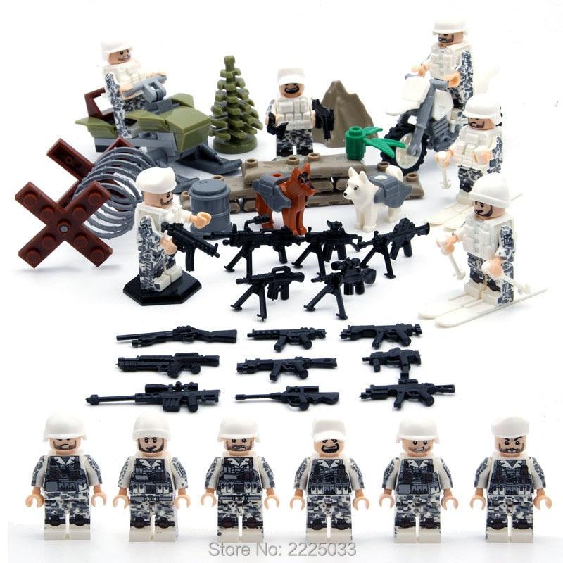 SWAT hó mező ügynökök hadsereg fegyverek és motoros szánok 2. világháború Építőelemek Toy Gift kompatibilis legoinglys katonai