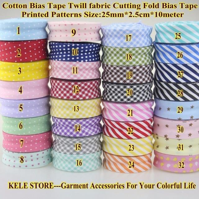 Envío libre 100% algodón sesgo cinta puntos, raya, tartán chequeado ...