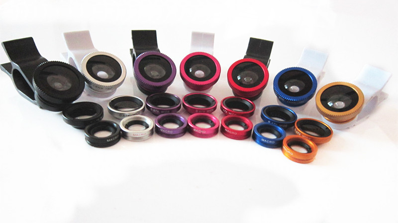 500set/lot 3 in 1 fish eye macro wide angle mobile phone lenses camera fit universal clip For iPhone Samsung LG sony phone