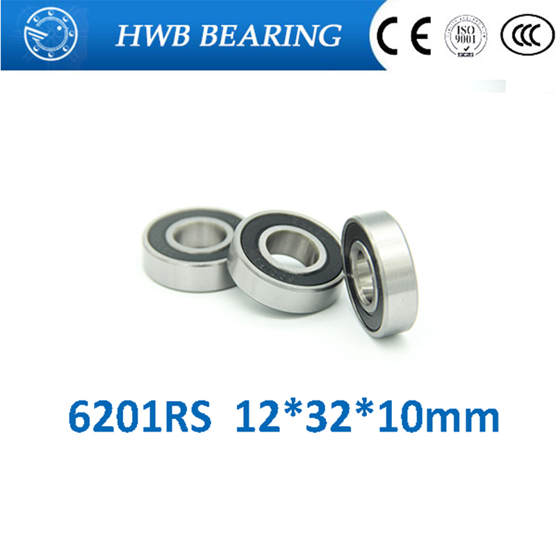 Free shipping 10Pcs 6201-2RS 6201RS 6201 RS 12*32*10mm Deep Groove Ball Bearings 12 x 32 x 10mm for bicycle hubs gcr15 6036 180x280x46mm high precision deep groove ball bearings abec 1 p0 1 pcs