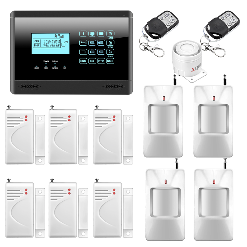 Wireless/Wired GSM Autodial Home Security Alarm System, PIR Motion Sensor, Door Gap Detector, Remote Controller