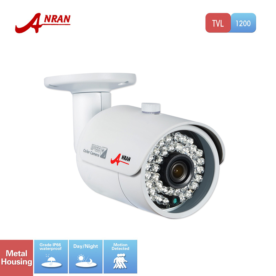 ANRAN CCTV HD 1200TVL 1/2.5 SONY CMOS IMX138 Sensor 36 IR Outdoor Night Vision Security Waterproof Bullet Camera With IR-Cut jooan waterproof 1 4 cmos hd bullet security cctv camera w 36 ir led silvery white pal secam