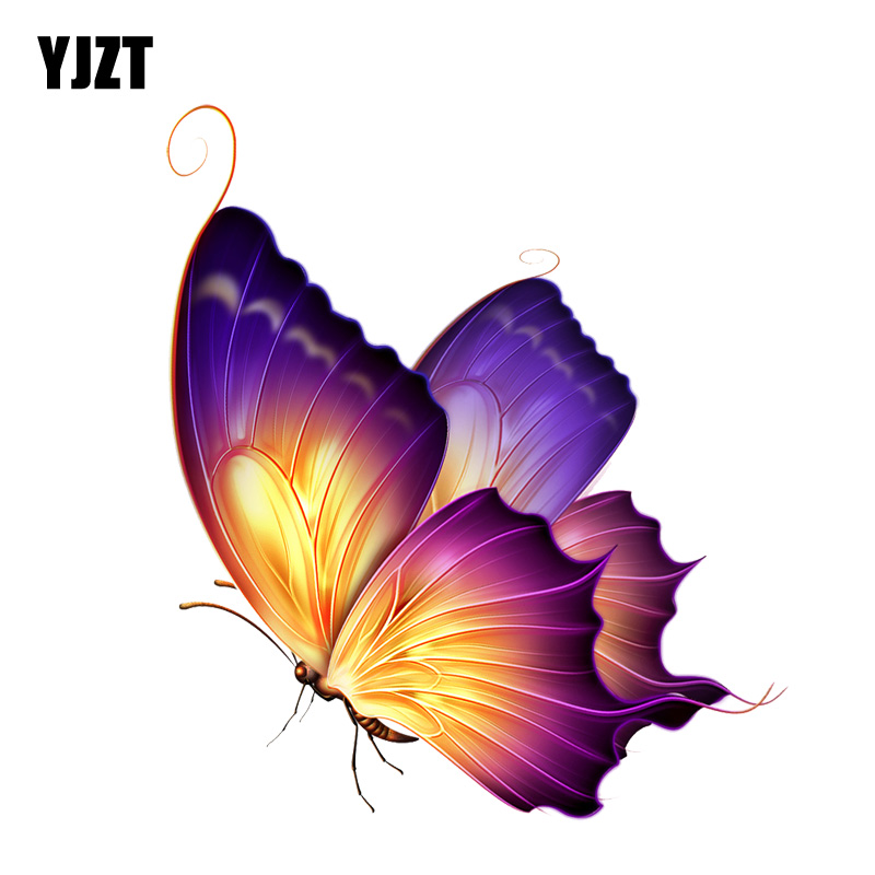 YJZT  12.3CM*14.5CM Beautiful Color Butterfly Decal PVC Motorcycle Car Sticker 11-00650