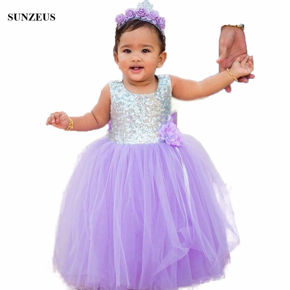 Ball Gown Purple Flower Girl Dress Long Puffy Tulle Kids Birthday ...