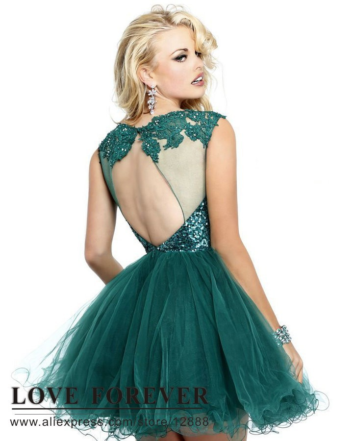 Backless Ball Gown Tulle and Lace Navy Blue Pink Green White Party ...