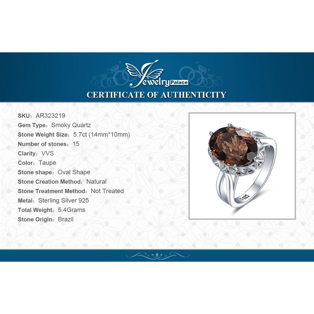 JewelryPalace Huge Genuine Smoky Quartz Ring 925 Sterling Silver Rings for Women Engagement Ring Silver 925 Gemstones Jewelry in Rings from Jewelry Accessories