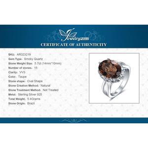 Image 5 - JewelryPalace grande anillo de cuarzo ahumado genuino 925 anillos de plata esterlina para mujeres anillo de compromiso plata 925 joyas de piedras preciosas