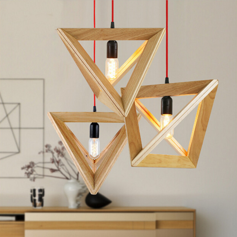 Vintage wood pendant light indoor LED modern lamp Nordic restaurant bar coffee shop dining room ceiling hanging lighting fixture modern indoor lighting pendant lights wood and aluminum lamp restaurant bar coffee dining room led hanging light fixture