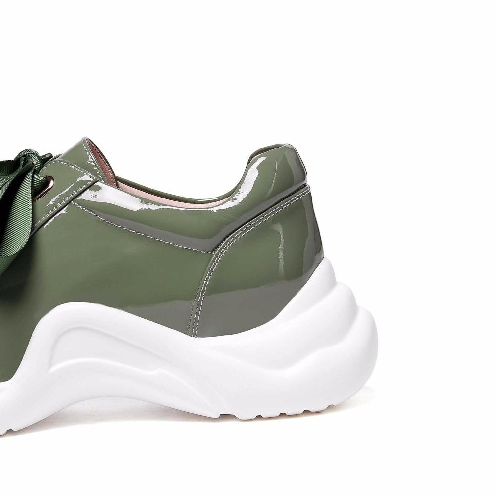 Superior Verde Calidad Más Plataforma Decoración 2019 Pie blanco Krazing Encaje Olla De Redondo L5f2 Dedo Cinta Tamaño Zapatos Cuero Casual Del Vulcanizados Genuino w0Yx1q6x