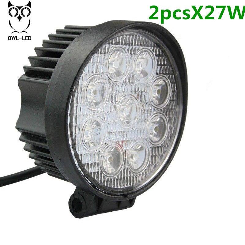 2pcs 27W LED Work Light for Indicators IP67 9*3W Spotlight 12V-24V Trunck/Motorcycle/Day Running Lamp Headlight