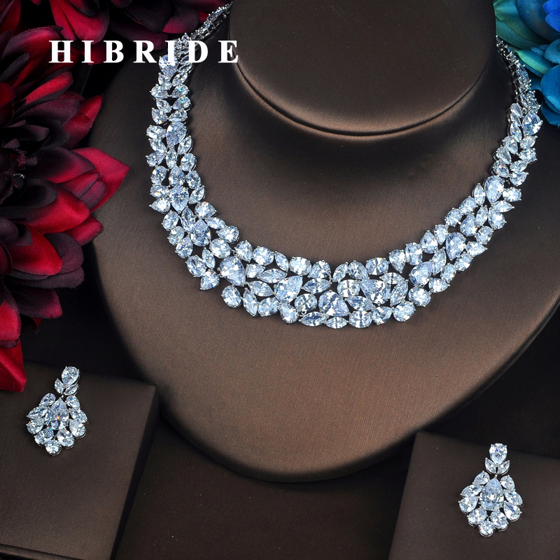 HIBRIDE New Brilliant Full Cubic Zirconia Women Bride Jewelry Sets Earring Set Wedding Accessories Gifts Wholesale Price N 433