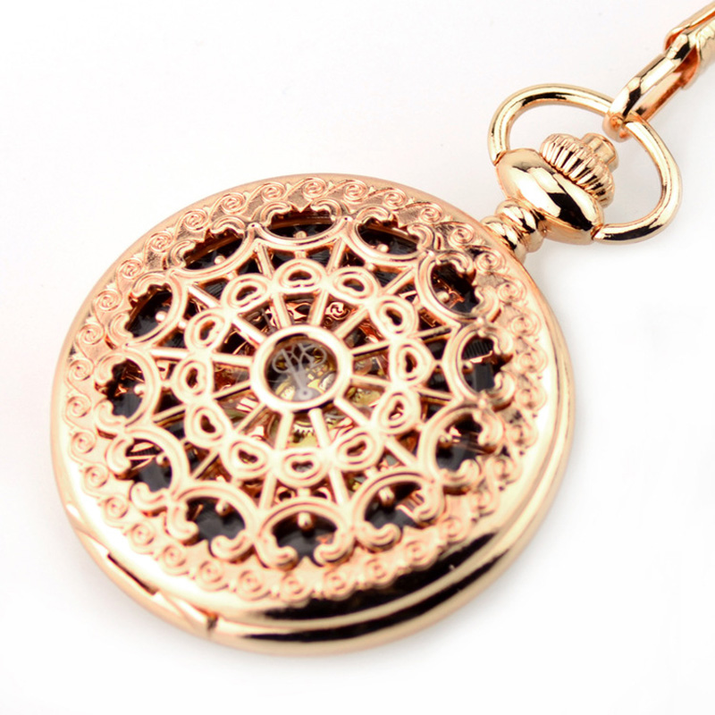 New Pocket Watch Fashion Rose Gold Skeleton Mechanical Hand Wind Pocket Fob Watches With Chain Mechanical Pocket Watch