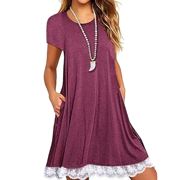 Women Lady Dress Short Sleeve Round Collar Solid Color Lace Fashion For Party -MX8