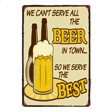 1 pc serve drink beer cheers  bar best town tin Plates Signs wall plaques man cave decor Decoration vintage Poster metal